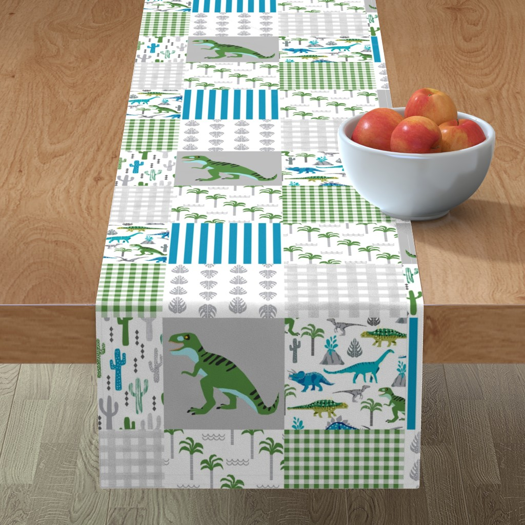 Minorca Table Runner featuring dino quilt  dinosaurs nursery cheater quilt  by charlottewinter