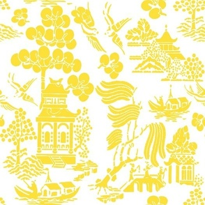 Chinoiserie Villages yellow on white