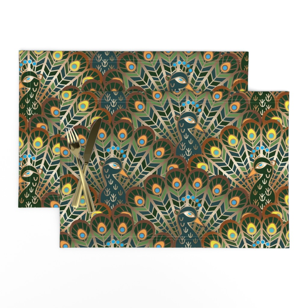Lamona Cloth Placemats featuring peacocks by minyanna