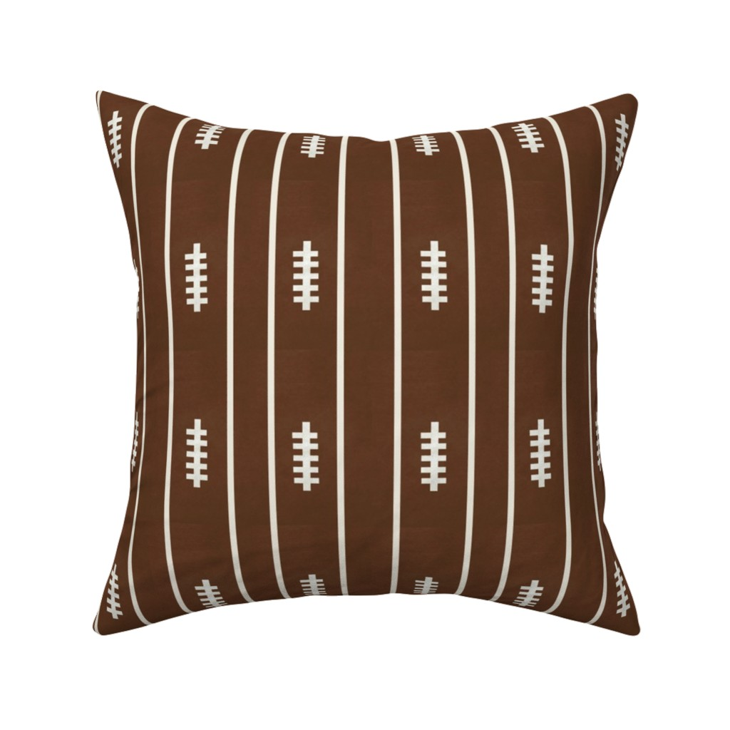 Catalan Throw Pillow featuring football brown  VERTICAL 6 - strings and stripes by drapestudio