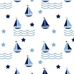 Sweet baby blue sailboats