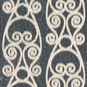 Ikat Crackled Scrolled Black Ink Cream
