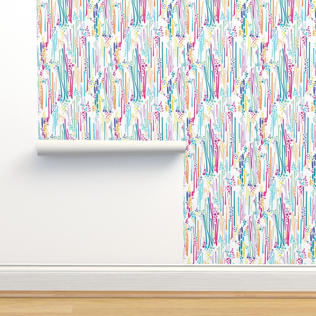 Isobar Durable Wallpaper featuring Rainbow Doodle & Dot by christinemay