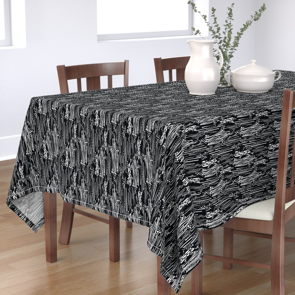 Bantam Rectangular Tablecloth featuring Black & White, Doodle & Dot by christinemay