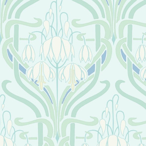 Art Nouveau Flowering Buds Cool Soft Large
