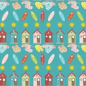Summer Flip Flops on Teal, Beach, Surfing, Seagulls, Vacation, Beach hut, Holiday Fabric