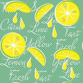 Lemons on Green, June, July, August, Summer Fabrics, Kitchen Fabric, Picnic Fabric