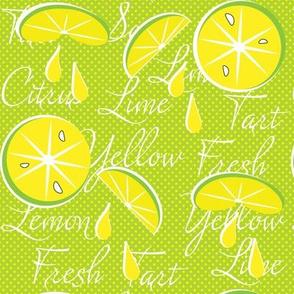 Lemons on Lime, Polka Dot, June, July, August, Summer Fabrics, Kitchen Fabric, Picnic Fabric