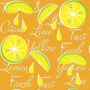 Lemons on Orange, Polka Dot, June, July, August, Summer Fabrics, Kitchen Fabric, Picnic Fabric