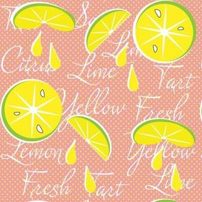Lemons on Pink Lemonade, Polka Dot, June, July, August, Summer Fabrics, Kitchen Fabric, Picnic Fabric