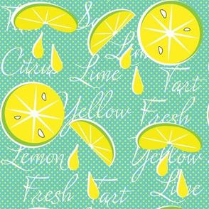 Lemons on Teal, Polka Dot, June, July, August, Summer Fabrics, Kitchen Fabric, Picnic Fabric