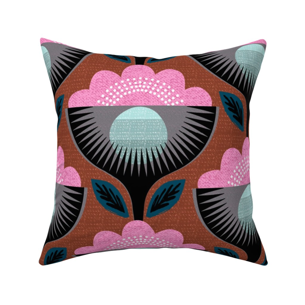 Catalan Throw Pillow featuring mod deco flower by ottomanbrim