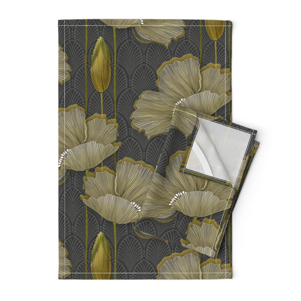 Orpington Tea Towels featuring Art Deco fleurs d'or by j9design