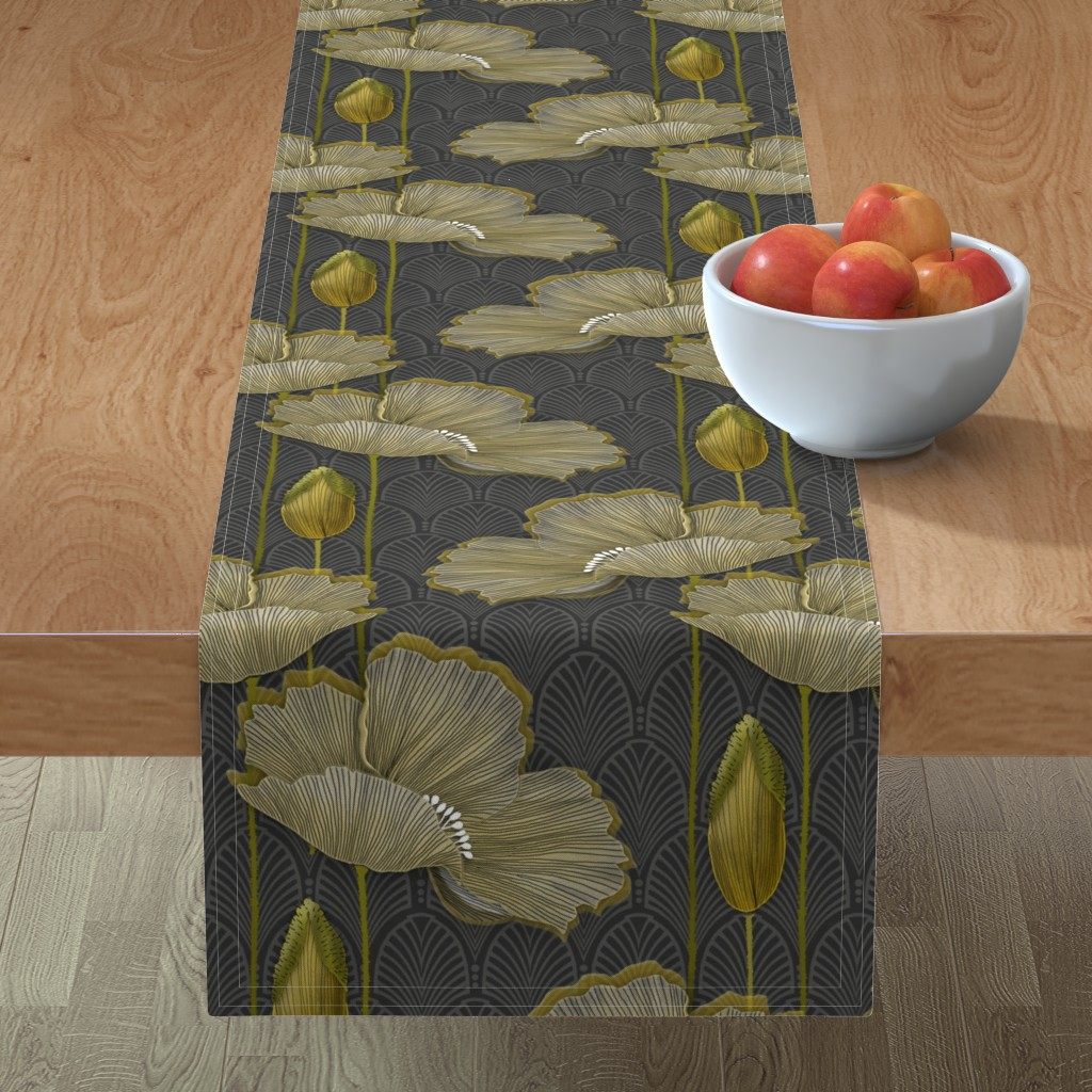 Minorca Table Runner featuring Art Deco fleurs d'or by j9design