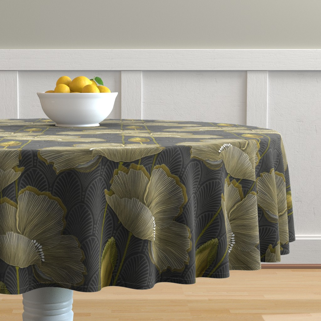 Malay Round Tablecloth featuring Art Deco fleurs d'or by j9design