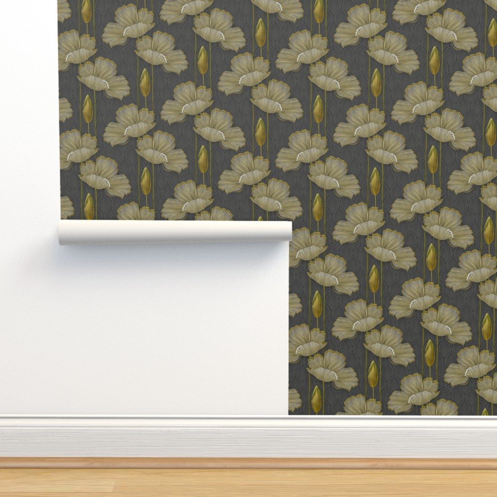 Isobar Durable Wallpaper featuring Art Deco fleurs d'or by j9design