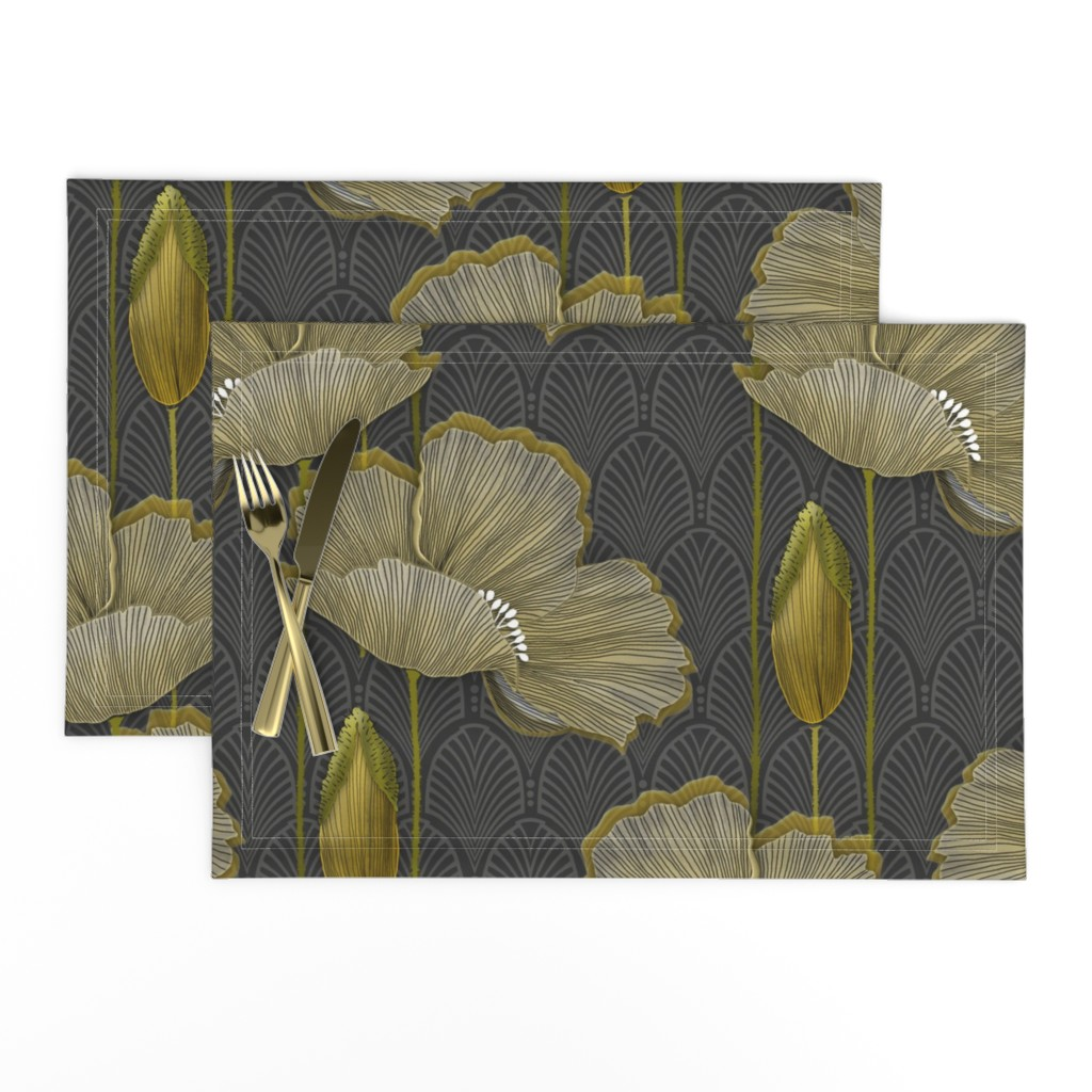 Lamona Cloth Placemats featuring Art Deco fleurs d'or by j9design