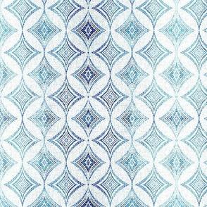 blue mid century modern geometric circle starburst linen texture