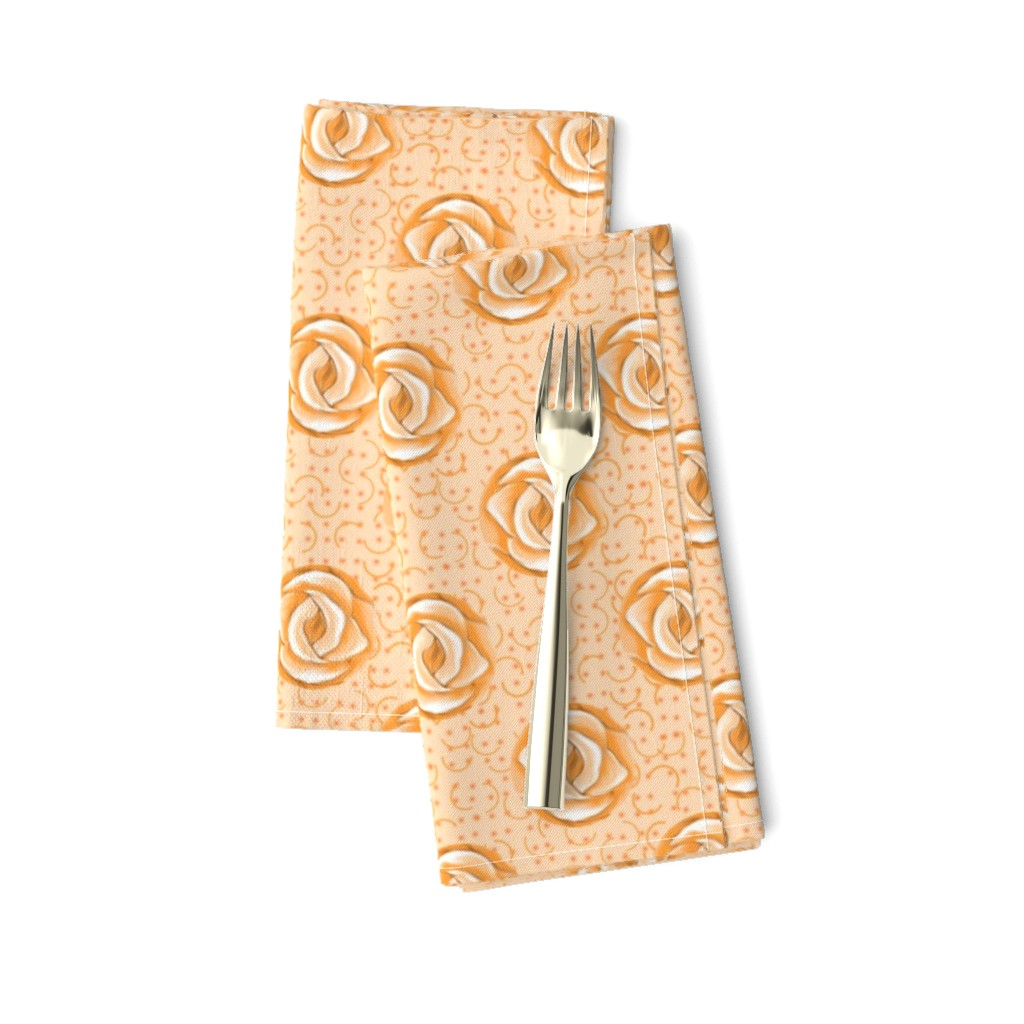 Amarela Dinner Napkins featuring Peach Polka Dot Roses on Semicircle Background by eclectic_house