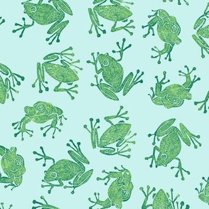 serene frogs - green on pale blue