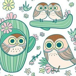 cactus owls in sugar white