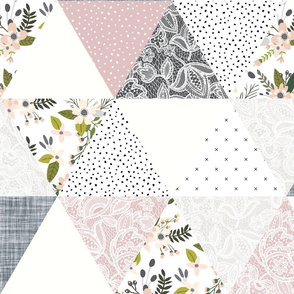 gray sprigs and blooms triangle wholecloth