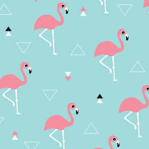 Geometric summer flamingo beach theme in aqua and pink XL