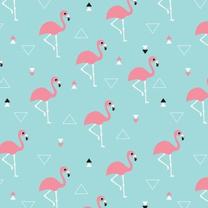 Geometric summer flamingo beach theme in aqua and pink SMALL