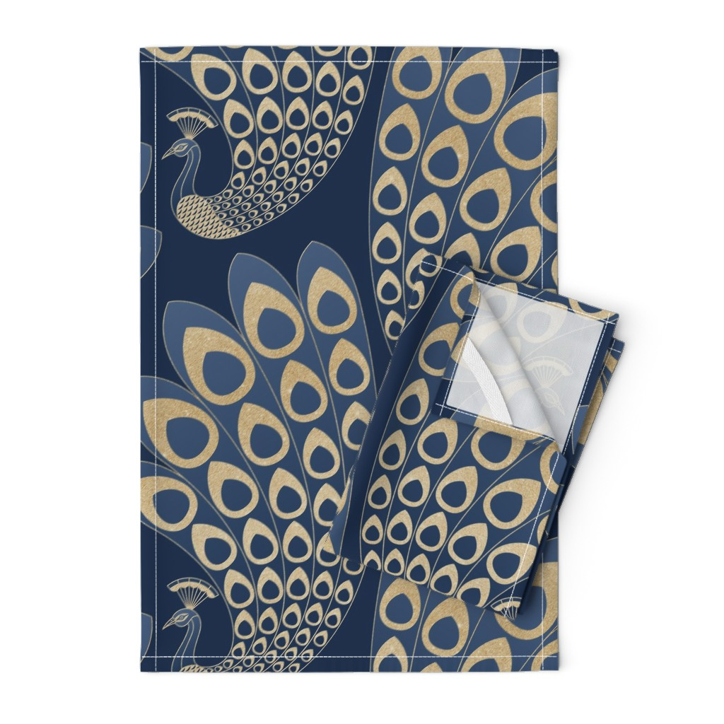 Orpington Tea Towels featuring Blue and Gold Art Deco Peacock - Large by marketa_stengl