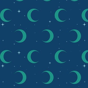 Crescent Moon and Stars- Robe Lining in Peacock