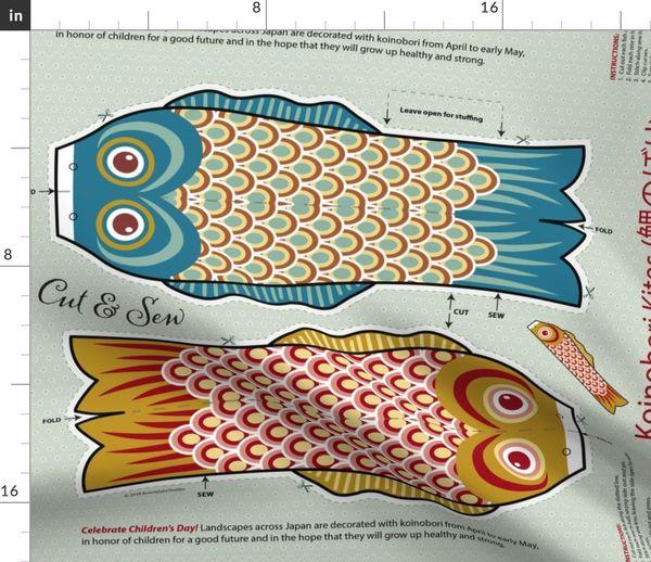 Fabric by the Yard Koi kites - aqua & gold