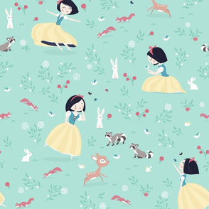 Snow White - BIG - mint princess with animals in forest