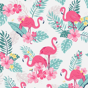 Tropical Flamingos - grey