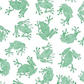 plague of frogs - green on white