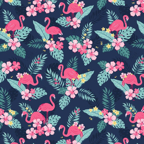 Tropical Flamingos - Navy
