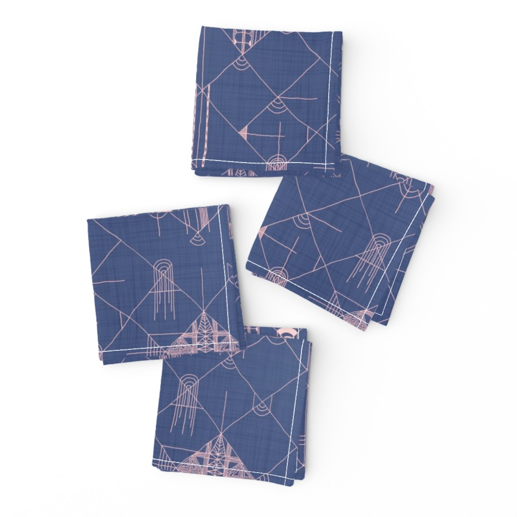 Frizzle Cocktail Napkins featuring denim grids by booboo_collective