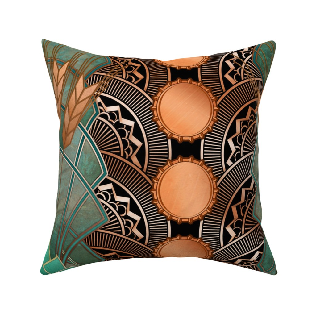 Catalan Throw Pillow featuring deco hops and barley black by ghouk