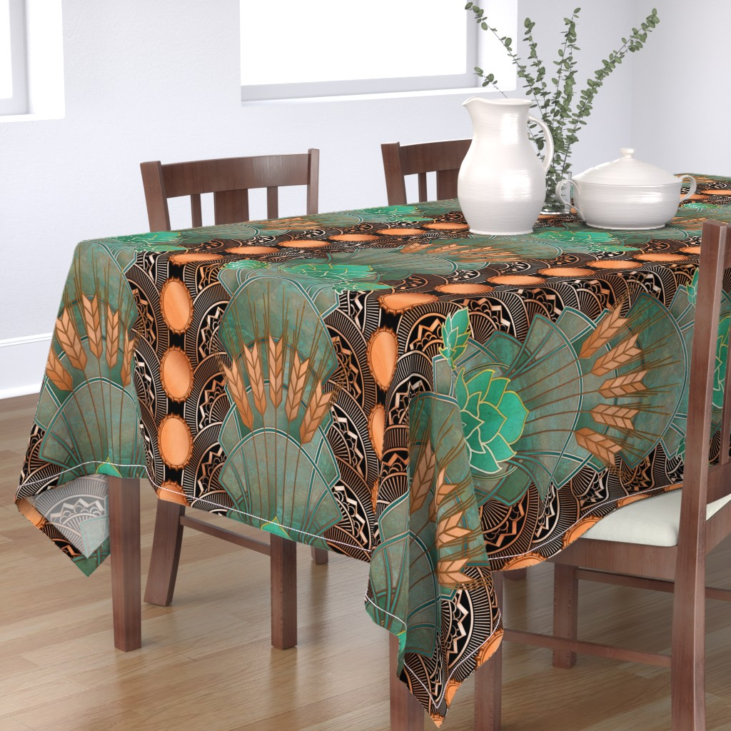 Bantam Rectangular Tablecloth featuring deco hops and barley black by ghouk