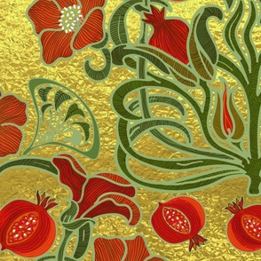 Art Deco Pomegranate Golden Garden