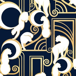 Deco Gatsby Panthers // large jumbo scale // navy and gold
