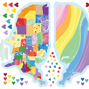 The Colorful State of the States (applique a heart somewhere special)