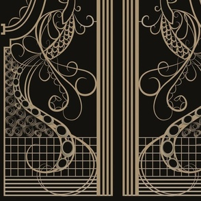 Art Deco Peacock Panels black and gold