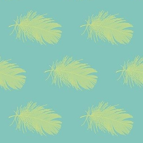 yellow parakeet feather on teal