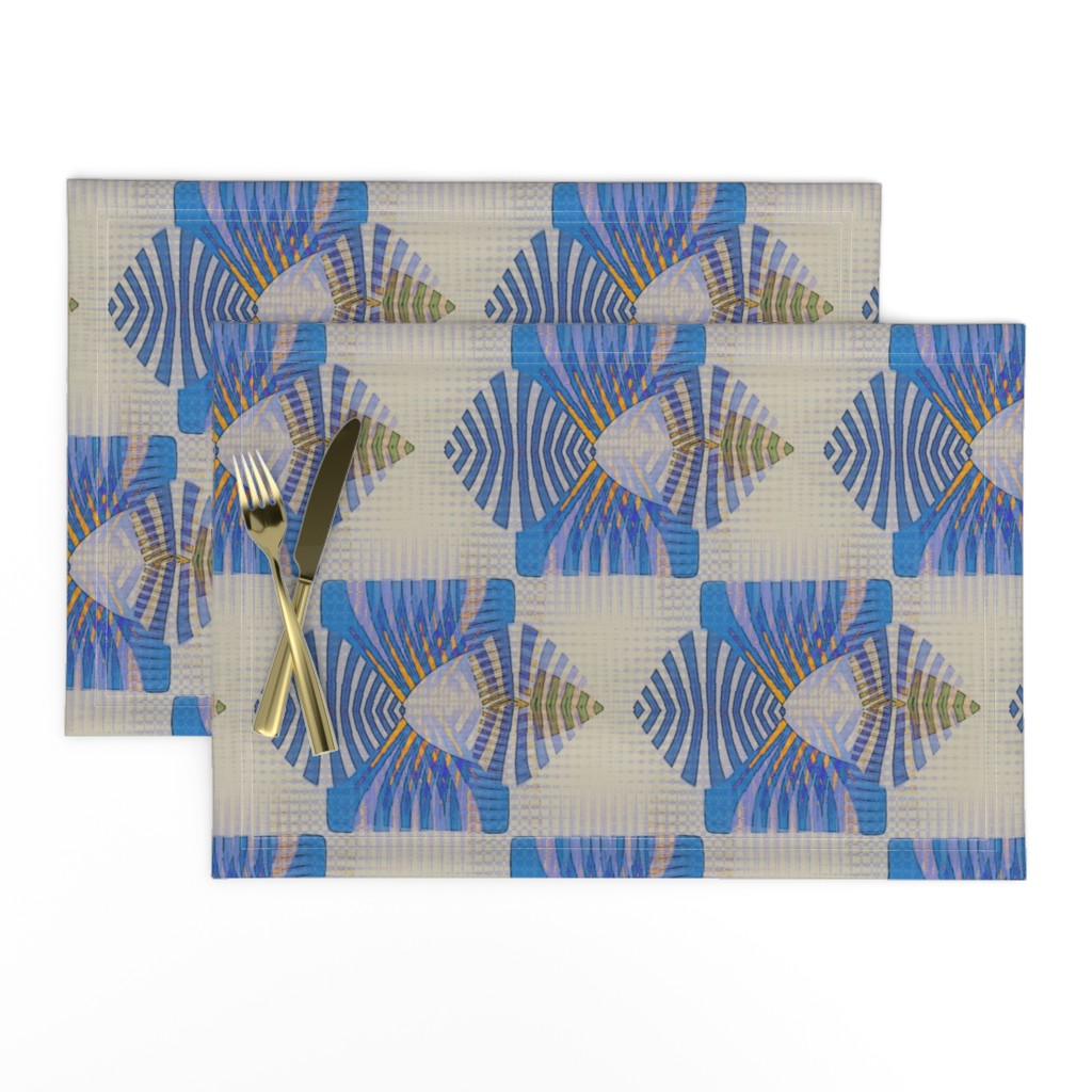 Lamona Cloth Placemats featuring Point Nimian Reduction (Blue) by david_kent_collections