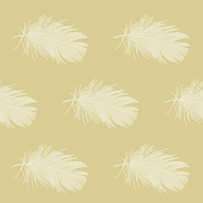 white feather on golden tan