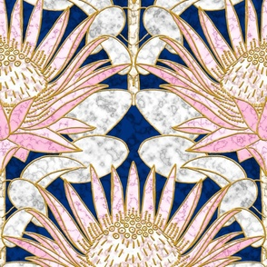 Blush King Protea Art Deco (midnight)