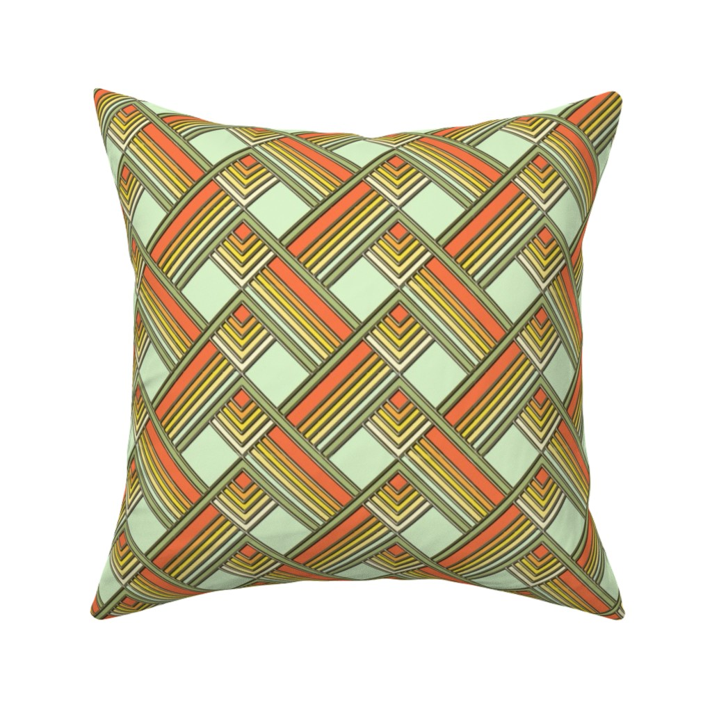 Catalan Throw Pillow featuring Art Deco Sunshine Gold by eclectic_house