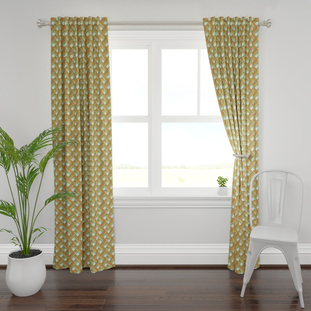 Plymouth Curtain Panel featuring Art Deco Sunshine Gold by eclectic_house