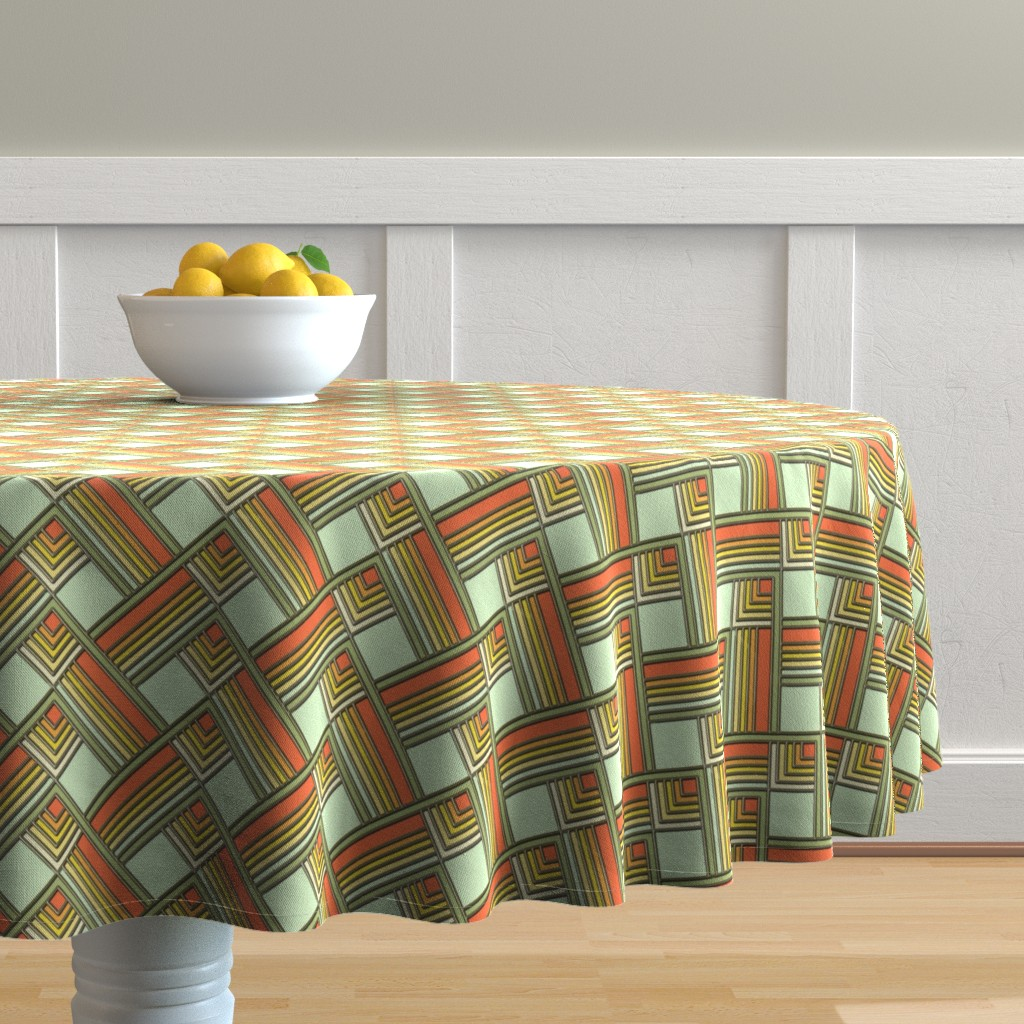 Malay Round Tablecloth featuring Art Deco Sunshine Gold by eclectic_house