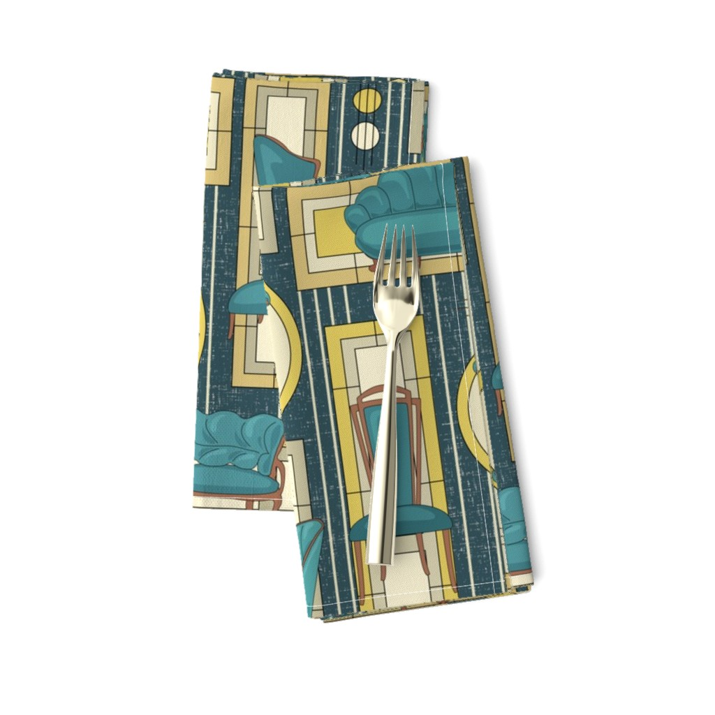 Amarela Dinner Napkins featuring Art Deco Panels and Chairs - Teal by fernlesliestudio